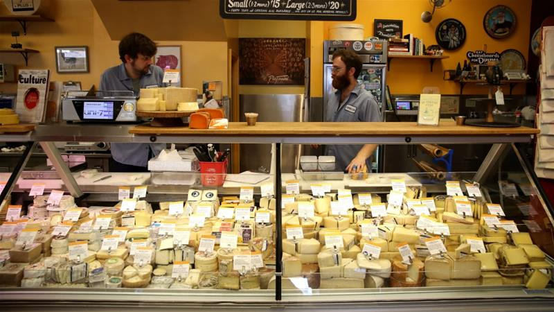 The United States has proposed retaliatory tariffs on several European products, including cheese and wine [Justin Sullivan/Getty Images/AFP]