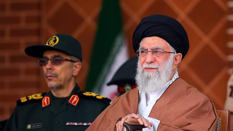 Ayatollah Ali Khamenei accused the US of using the protests to'send troops' [Office of the Iranian Supreme Leader via AP]