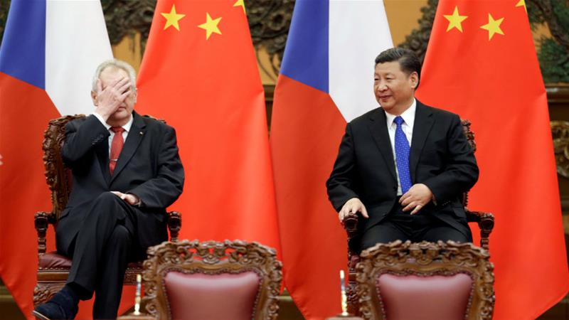 Czech President Milos Zeman, left, and China's President Xi Jinping have enjoyed close relations in the past [Jason Lee/Reuters]
