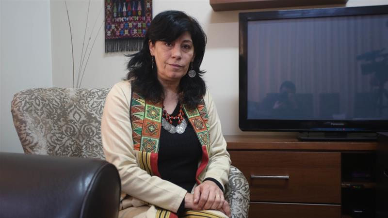 Khalida Jarrar, a member of Palestinian Popular Front for the Liberation of Palestine, photographed at her home in Ramallah [File: Anadolu Agency]