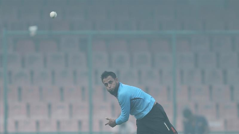 As the Bangladeshi players and coaches practised, the air quality index around the stadium was above 400 [Adnan Abidi/Reuters]