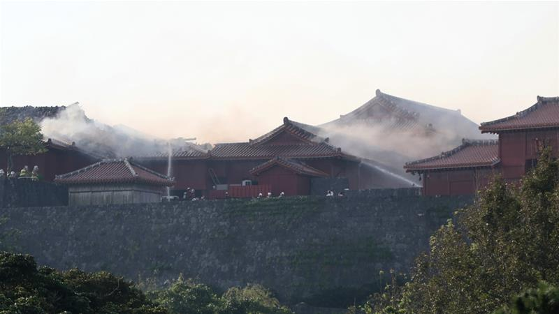 Shuri Castle was also bombed and destroyed by US forces during the 1945 Battle of Okinawa [Jiji Press/AFP]