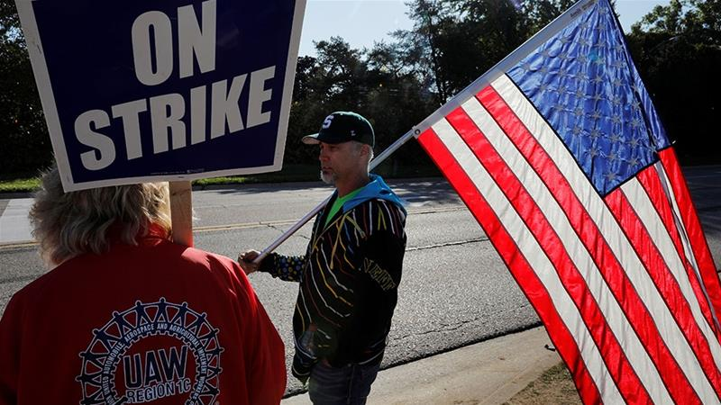 The October job numbers were even more impressive given the drag from a 40-day labour strike at General Motors Co's US factories, which ended last Friday [File: Brian Snyder/Reuters]