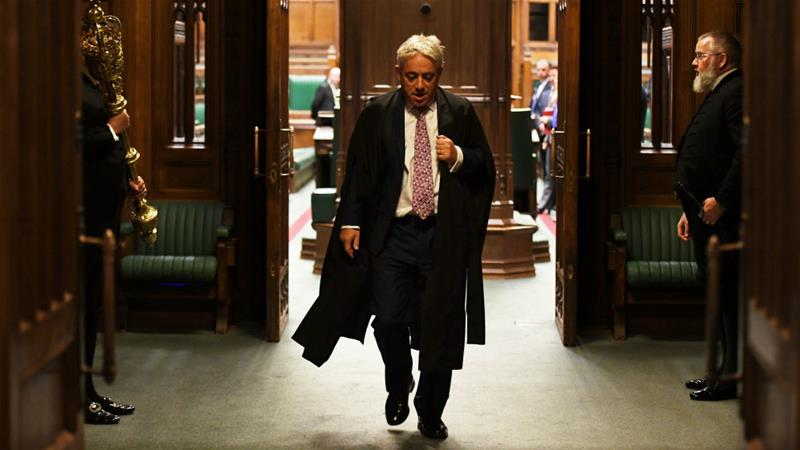 John Bercow departs the House of Commons chamber for the final time as speaker [UK Parliament/Jessica Taylor/Reuters]