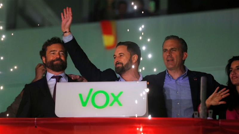 Vox is popular in Spain, with leader Santiago Abascal celebrating doubling their MPs and becoming the third-largest party in Parliament [Susana Vera/Reuters]