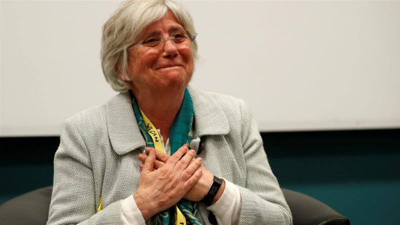 Catalonia's former education minister Clara Ponsati is now an academic at a prestigious Scottish university [Russell Cheyne/Reuters]