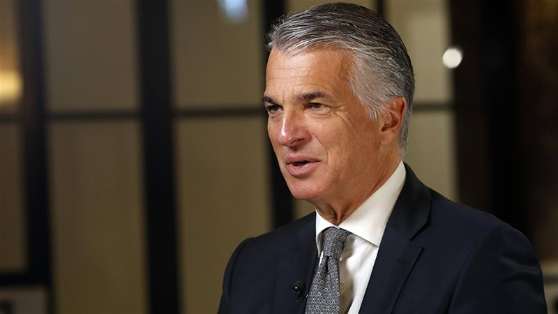 Sergio Ermotti, chief executive officer of UBS Group AG, believes consolidation among Europe's banks will be needed not only for them to remain in business, but also for them to stay competitive and sustain growth [File: Stefan Wermuth/Bloomberg]