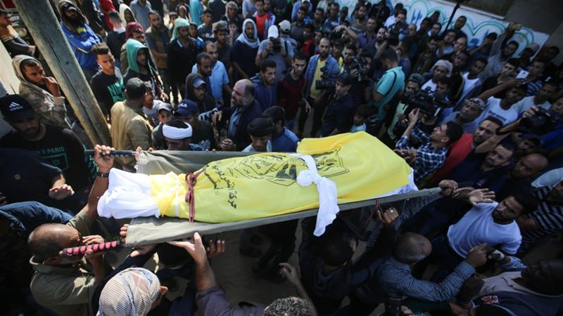 Hundreds mourned the death of eight members of one family killed in bombing raids by Israel's military [Hassan Jedi/Al Jazeera]