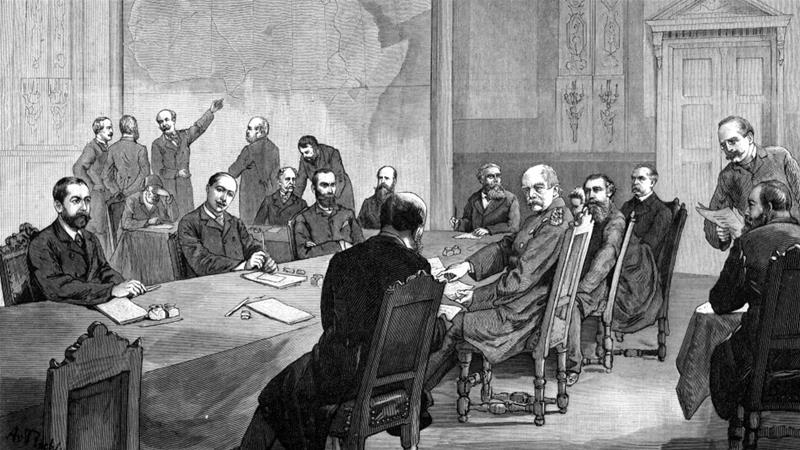 The conference of Berlin, as illustrated in 'Illustrierte Zeitung', 1884 [WikiCommons]