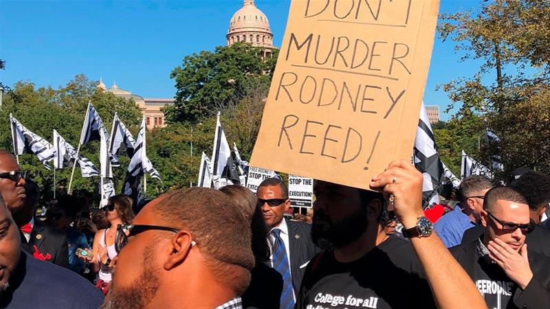 Supporters rally to stop the execution of Texas death row inmate Rodney Reed outside the governor's mansion in Austin, Texas [Paul Weber/AP Photo]