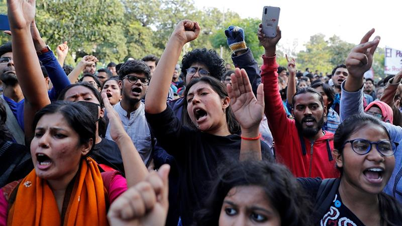 On Monday, students protesting proposed increase in tuition fees tried moving out of the campus towards central New Delhi, but baton-wielding police pushed them back [File: Danish Siddiqui/Reuters]