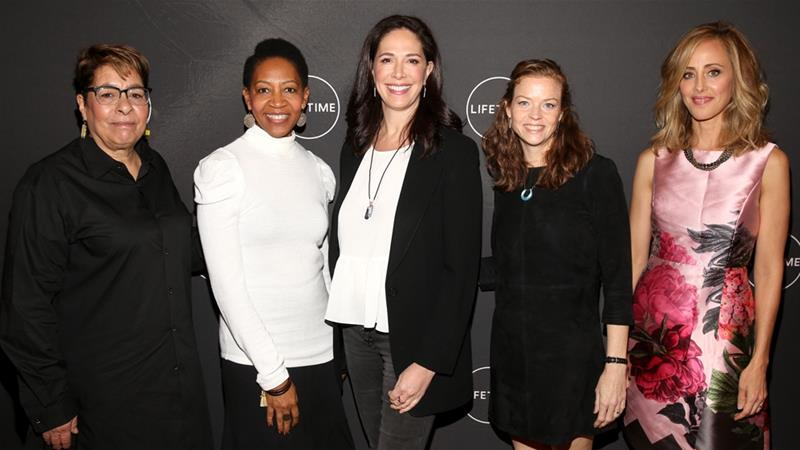 Janice Cooke, Rhonda Baraka, Monika Mitchell, Claire Scanlon and Kim Raver attend Lifetime's Female Directors and Leading Actresses 2019 Winter Television Critics Association Press Tour in Pasadena, California [File: Jesse Grant/AFP]