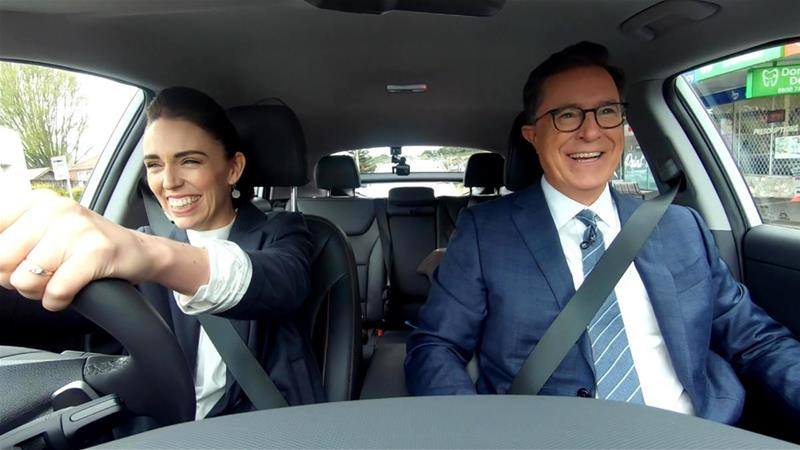 Ardern turned tour guide for Colbert, driving him from Auckland airport to a barbecue at her home [AFP]