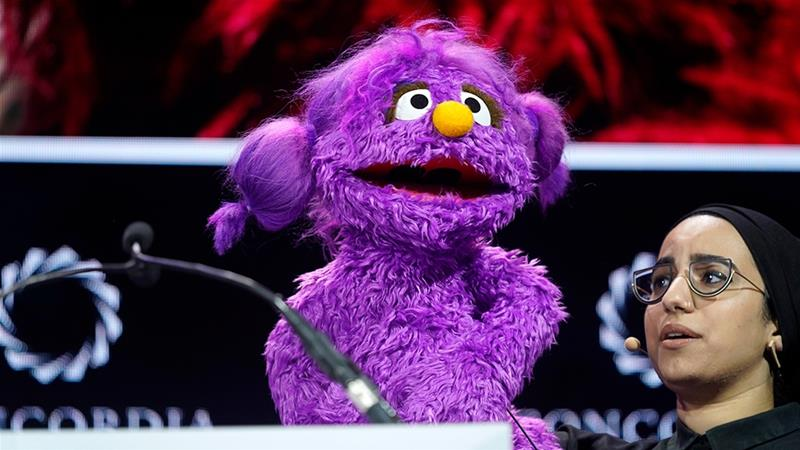 Basma is one of the new Muppets that will be joining the global Sesame Street family for the new show Ahlan Simsim, along with Jad, and Ma'zooza [File: Riccardo Savi/AFP]