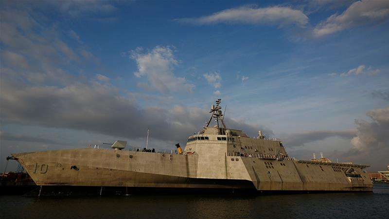 The USS Gabrielle Giffords, a Naval littoral combat ship, travelled close to China-claimed Mischief Reef in the disputed South China Sea in recent days [File: Brynn Anderson/AP Photo]
