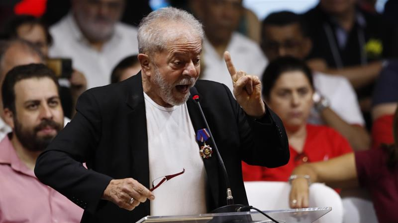 Lula, 74, governed Brazil from 2003 to 2010 and was jailed last year after being convicted of corruption [Nelson Antoine/AP]
