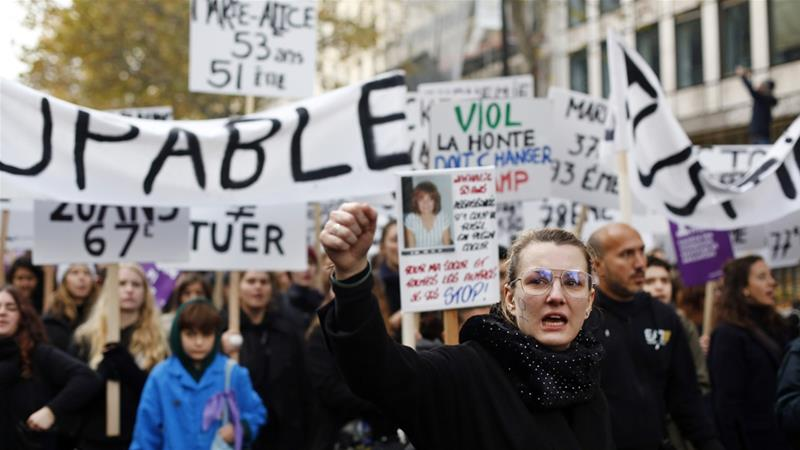 While France has a progressive reputation and pushes for women's rights around the world, it has among the highest rates of domestic violence in Europe [Thibault Camus/AP]