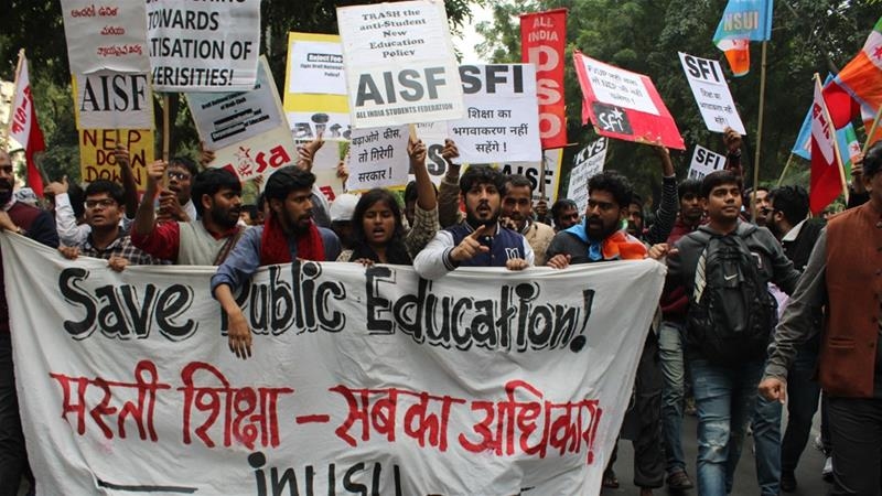 Hundreds march in India to demand 'affordable education for all'
