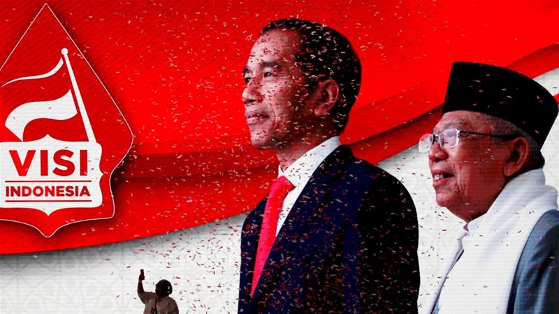 Indonesia's President Joko Widodo with his new running mate, Ma'ruf Amin, won a re-election in April 2019 [File: Reuters/Willy Kurniawan]