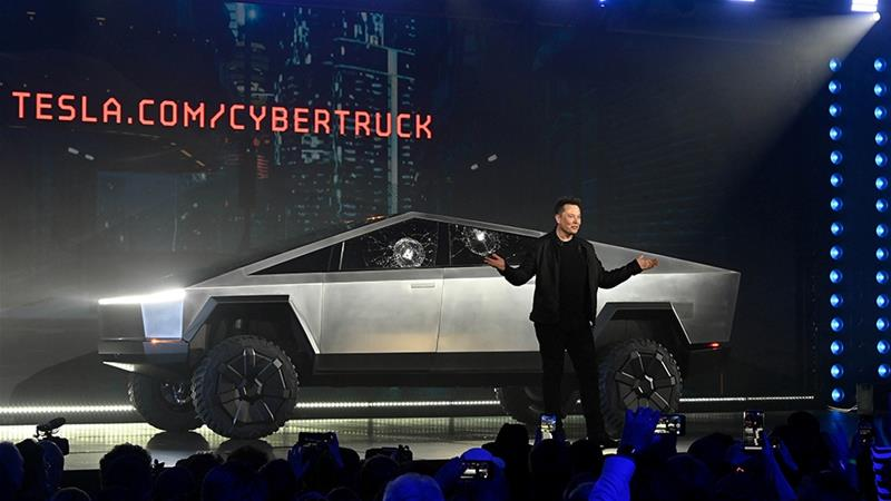 From touting the features of the new pick-up truck Cybertruck to taking a dig at Ford rival F-150 pick-up truck, Tesla CEO Elon Musk has been tweeting furiously to boost sales since Thursday's launch [File: Robert Hanashiro-USA TODAY/Reuters]