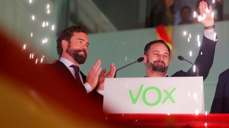 Vox leader Santiago Abascal's success in recent elections makes his far-right party powerful as the Socialists attempt to build a governing coalition [Susana Vera/Reuters]