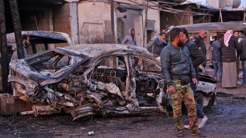 Turkey blamed the attack, the latest in a string of deadly car bomb attacks in the area, on Syrian Kurdish fighters [Nazeer Al-khatib/AFP]