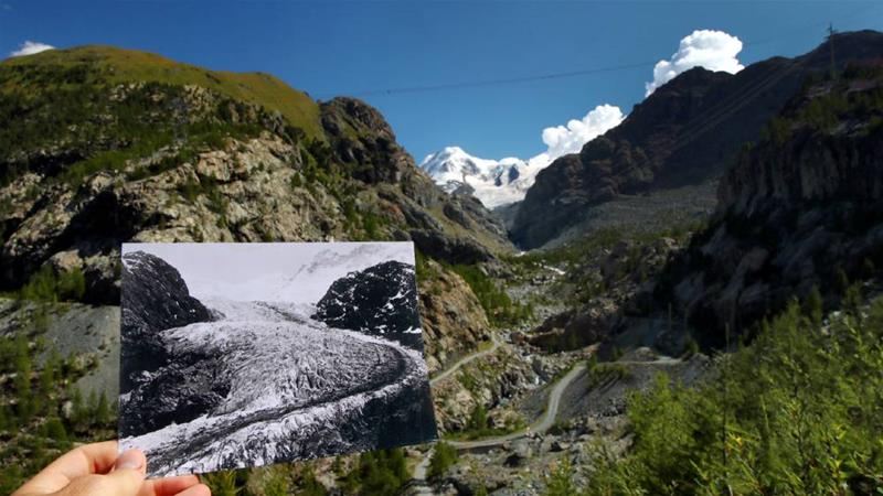 The Gorner Glacier in 1863, compared with the same location in August 2019, in Zermatt, Switzerland [Denis Balibouse Glaziologische/ Kommission der Akademie der Naturwissenschaften Schweiz/ETH Library Zurich/Reuters]