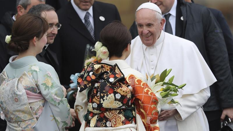 Pope ends Japan trip that stressed opposition to nuclear weapons