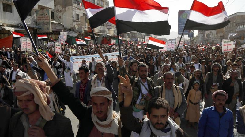 Supporters of Houthis during a march to mark the fifth anniversary of the rebels' control of the Yemeni capital, Sanaa [File: Anadolu Agency]