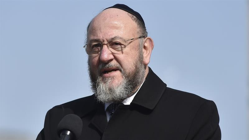 Ephraim Mirvis, the UK's chief rabbi, said Labour's claims it is tackling anti-Semitism were a 'mendacious fiction' [File: Hannah Mckay/EPA]