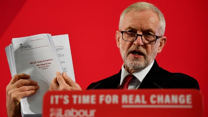 Labour Party leader Jeremy Corbyn brandishes the 451-page document detailing secret UK-US post-Brexit trade talks [Toby Melville/Reuters]
