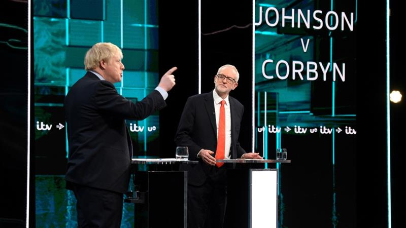 Conservative Party leader Boris Johnson and Labour's Jeremy Corbyn have put forward radically different visions for the future of the United Kingdom [File: Jonathan Hordle/ITV handout via Reuters]