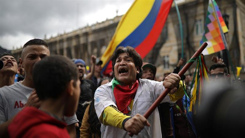 Colombians are unhappy with President Ivan Duque's response to nearly a week of protests over a slew of issues including economic reform and corruption [Ivan Valencia/AP Photo]