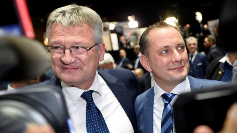 Newly-elected AfD chairmen Joerg Meuthen, left, and Tino Chrupalla attend the party meeting in Braunschweig, Germany [Fabian Bimmer/Reuters]