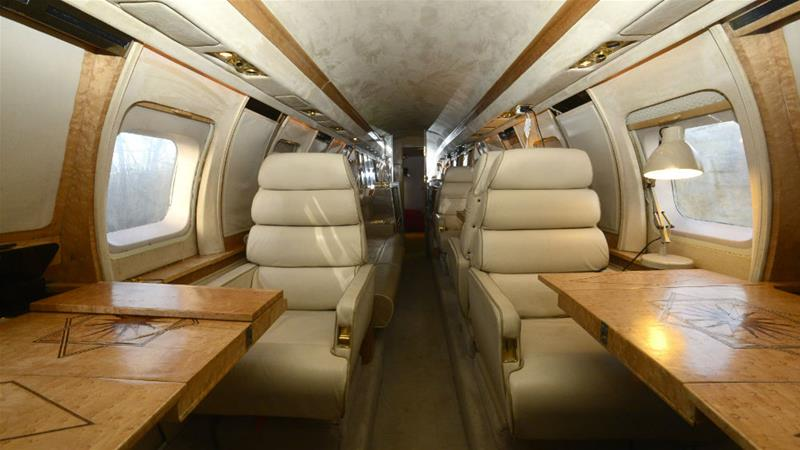 Taking off: The inside of a luxury Jetstar private jet, built in the seventies, which is now being used as a holiday home in west Wales [Rebecca Naden/Reuters]