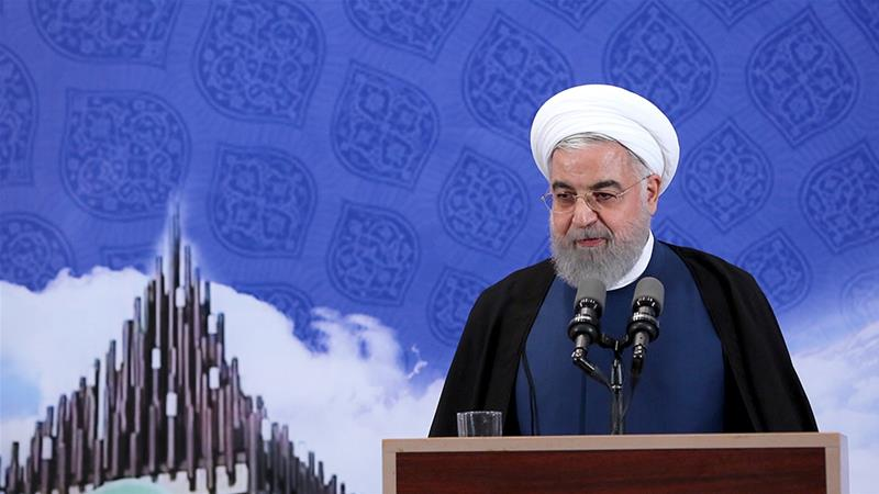 Hassan Rouhani announces Iran's fourth step in reducing its commitments to the nuclear accord [Iranian presidential office via EPA]