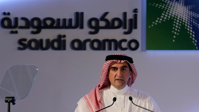 Yasir al-Rumayyan, Saudi Aramco's chairman, speaks during a news conference at the Plaza Conference Center in Dhahran, Saudi Arabia [Hamad I Mohammed/Reuters]