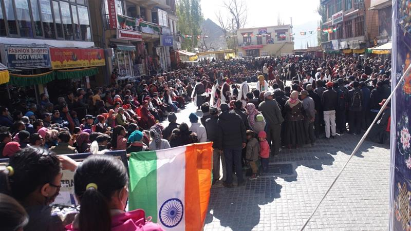 People celebrating the formation of Union Territory of Ladakh on October 31 in main market Leh, when the Indian government's decision was officially implemented in Jammu and Kashmir [Al Jazeera]