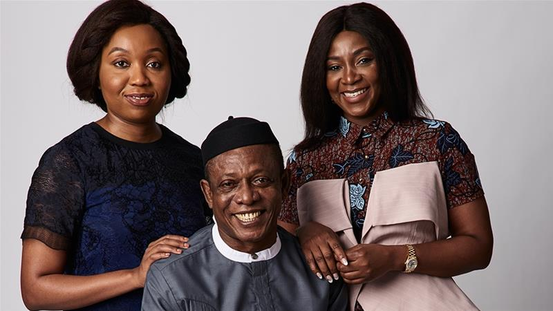 Producer Chinny Onwugbenu, left, actor Nkem Owoh, centre, and filmmaker Genevieve Nnaji, right, from the film Lionheart at the 2018 Toronto International Film Festival [Gareth Cattermole/Getty Images]