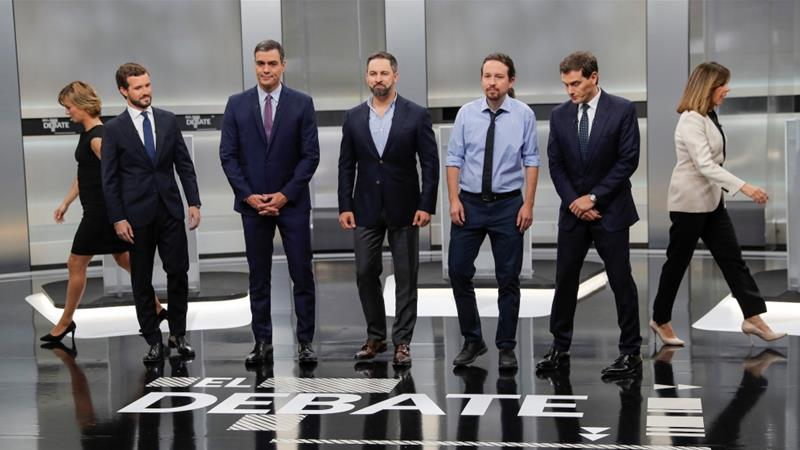 Main candidates for Spanish general elections prepare for a televised debate ahead of general elections in Madrid, Spain, November 4, 2019 [Susana Vera/Reuters]