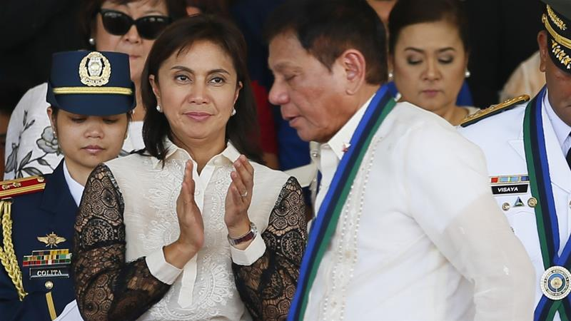 Presidents and vice presidents are elected separately in the Philippines, resulting in candidates from rival parties like Duterte and Robredo  in the country's top leadership  [File: Bullit Marquez/AP Photo]