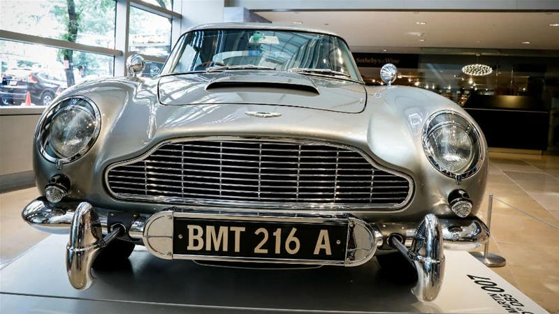 The 1965 Aston Martin DB5 coupe was a favourite of fictional British spy James Bond [Brendan McDermid/Reuters]