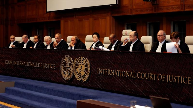 In this file photo from February 2019, judges are seen at the International Court of Justice [File: Eva Plevier/Reuters]