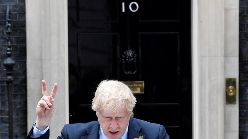 British Prime Minister Boris Johnson makes a statement to announce the general election at Downing Street in London, Britain, November 6, 2019 [Toby Melville/Reuters]