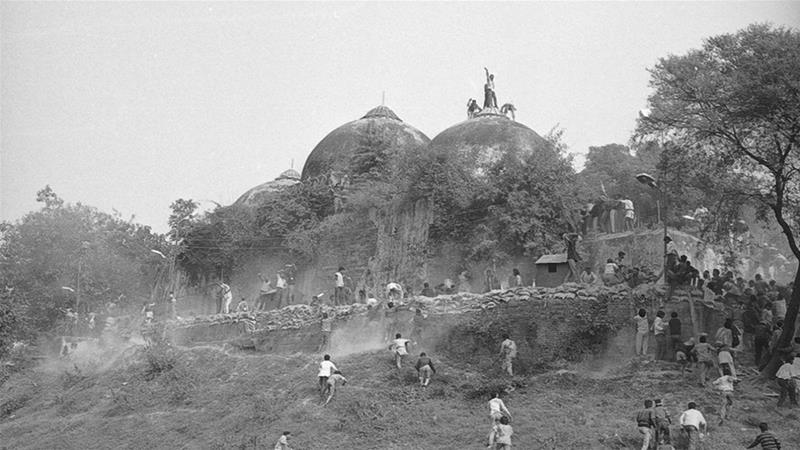 The demolition of the medieval-era Babri Mosque by Hindu mobs in the north Indian town of Ayodhya in 1992 triggered some of the deadliest religious riots [File: Getty Images]