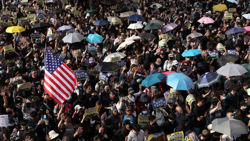 In Hong Kong, protesters say 'thank you Donald Trump'