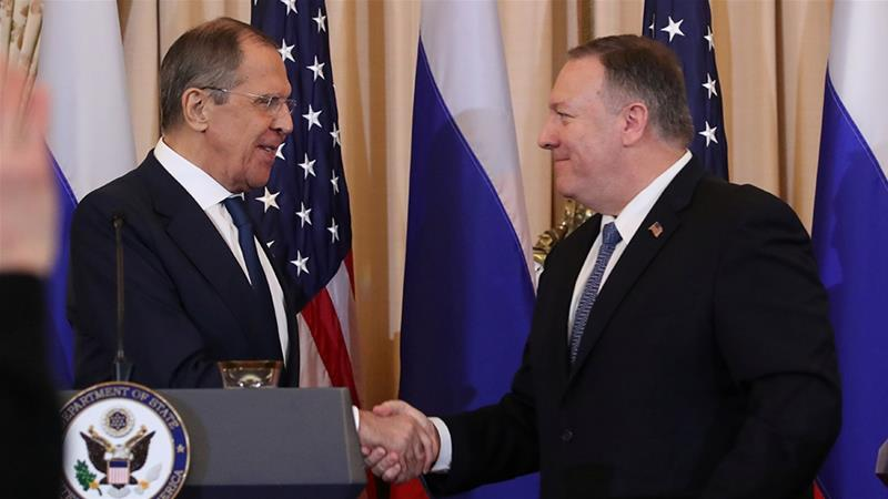 Russia's Foreign Minister Sergey Lavrov and US Secretary of State Mike Pompeo held a joint news conference after a meeting in Washington, DC on Tuesday [Jonathan Ernst/Reuters]