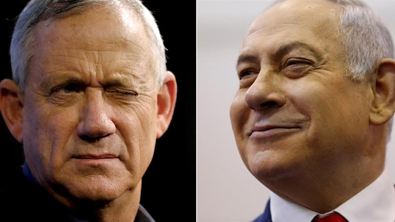Benny Gantz (L), the leader of the Blue and White alliance, and Israeli Prime Minister Benjamin Netanyahu [File: Amir Cohen/Reuters]