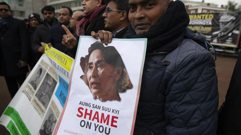 Aung San Suu Kyi will represent Myanmar in a genocide case at the UN court on Wednesday in The Hague [Peter Dejong/AP]