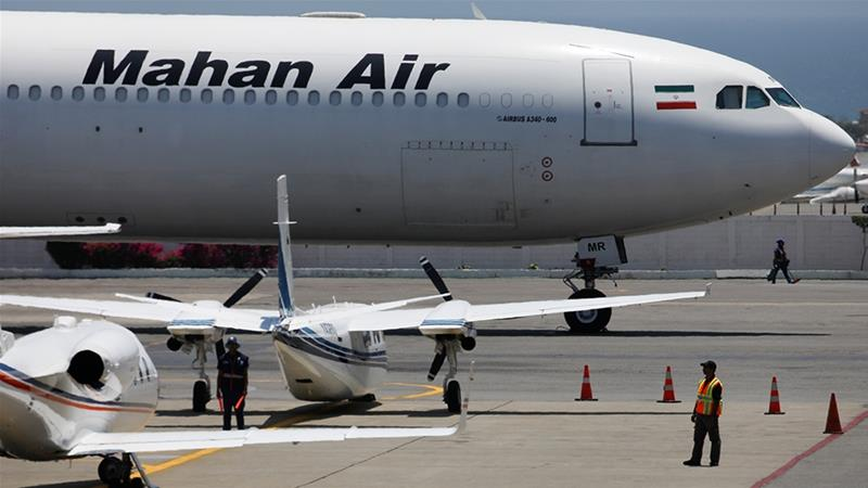 Mahan Air has previously been blacklisted for alleged support it has provided to the IRGC-QF, Hezbollah and Syrian President Bashar al-Assad, according to a Treasury Department statement [File: Carlos Garcia Rawlins/Reuters]